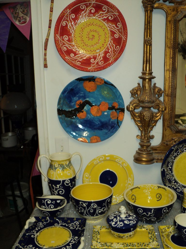 Large Pasta bowl in red/yellow $350.00, Persimmon Hand painted under glazed bowl $350.00