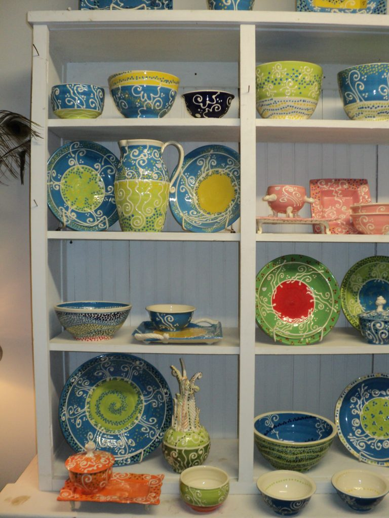 The sky blue and chartreuse cupboard!
